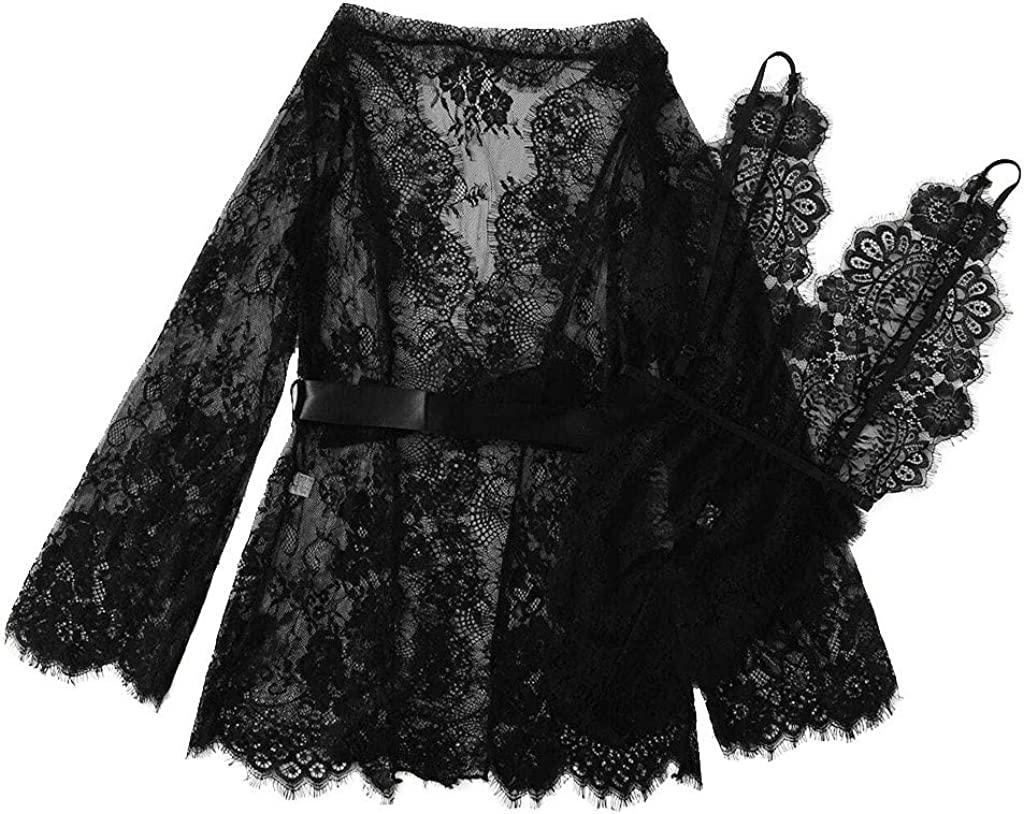 Gergeos 2PC Sexy Pajamas Nightdress Set Fashion Women Lace Lingerie Sleepdress Bobysuits Underwear