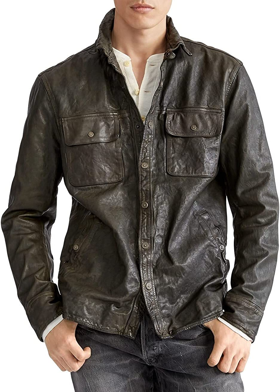 Polo Ralph Lauren COMPANY OLIVE Men's Leather CPO Shirt Jacket, US Small