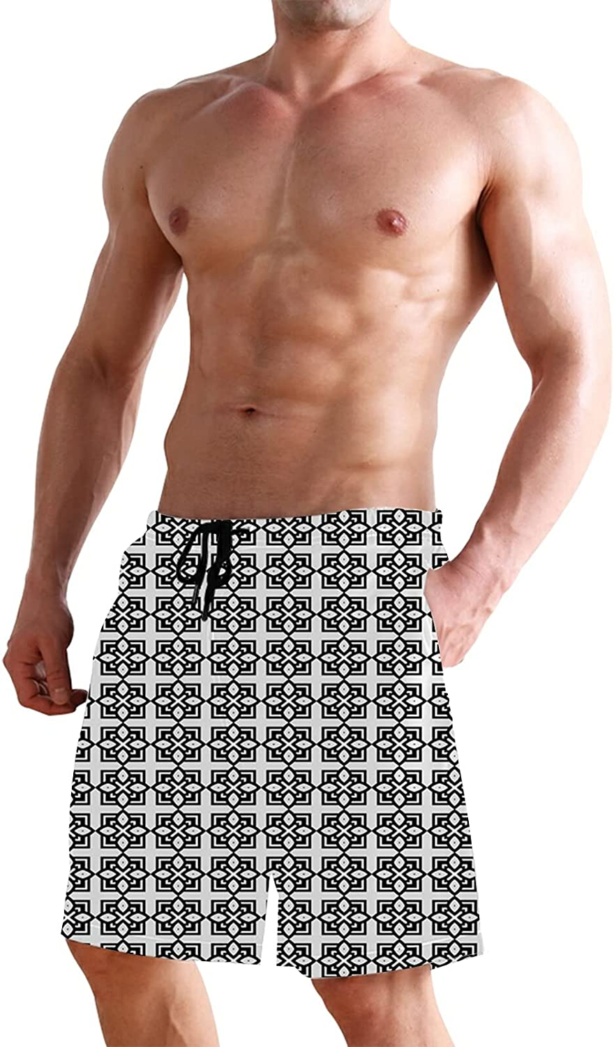 Men's Classic Relaxed Fit Stretch Cargo Short,Continuous Foods Pattern with Sketchy Hatched Broccoli Print