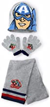 Official Boys Avengers Hulk Capt America Gloves , Beanie Hat & Scarf Set One size 4-10 Years