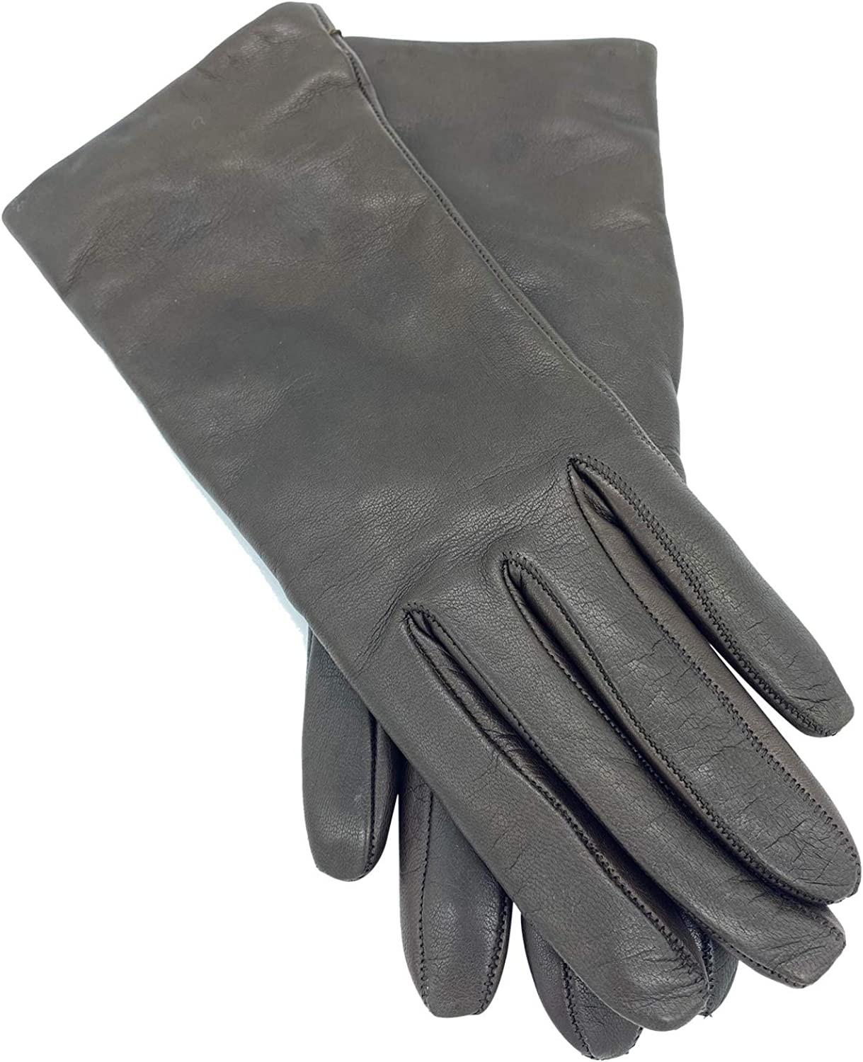Women's Sheepskin Leather Winter Gloves with Rabbit Fur & Cashmere Lining - Mid Length, Touchscreen Friendly