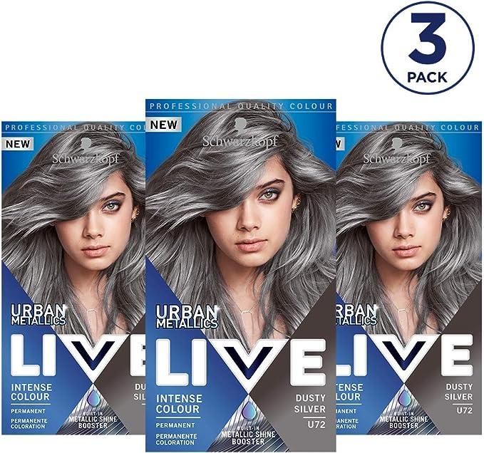 Schwarzkopf Live U72 Dusty Silver - Lote de 3 unidades