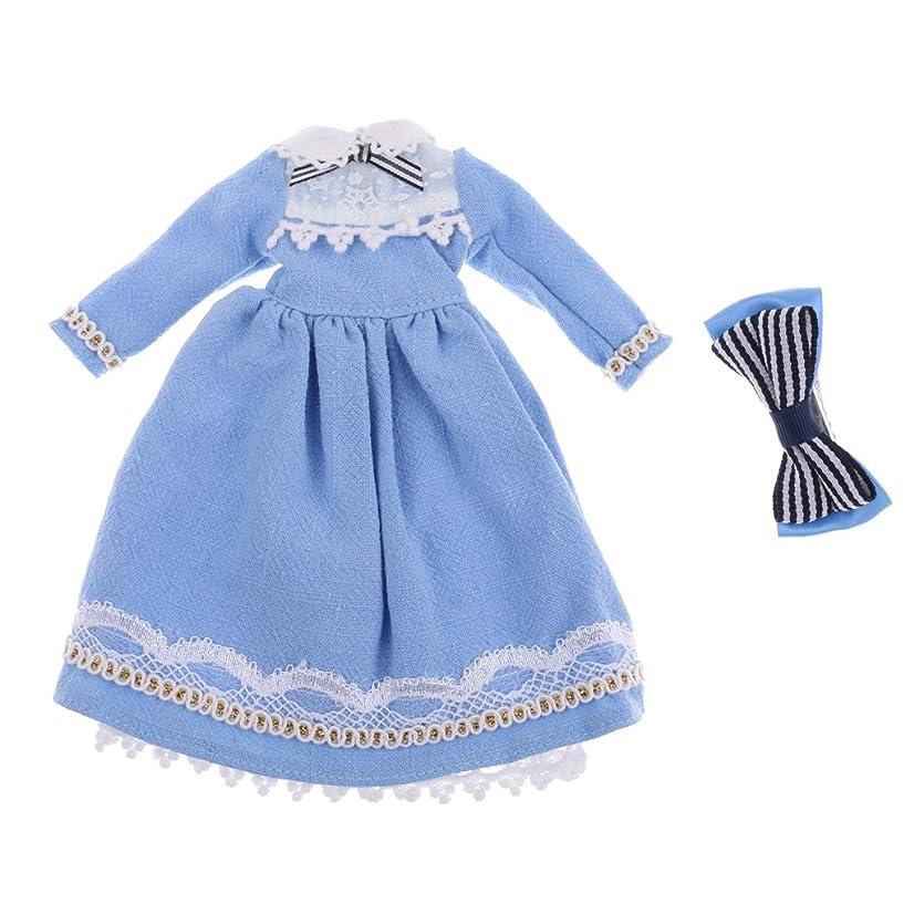 下品分散スタウトドールの服 ドレス スカート ワンピース 1/6スケール 人形 アクセサリー 布製 ライトブルー