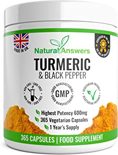 365 Turmeric & Black Pepper Capsules - High Strength Turmeric Capsules Turmeric Tablets 365 Vegetarian Capsules (1 Year Su...
