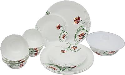 Larah by BOROSIL Alice Opalware Dinner Set (White, Set of 18 Pieces)