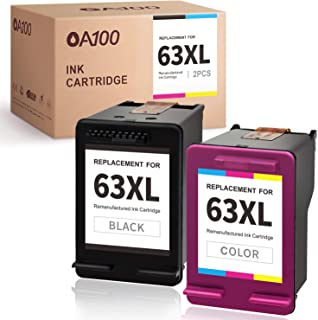 OA100 Remanufactured Ink Cartridge Replacement for HP 63 63XL - for HP Envy 4520 4512 Officejet 5255 3830 5258 4650 5252 4652 Deskjet 1112 3630 3631 3632 2132 2130 (Black Tri-Color 2 Pack)