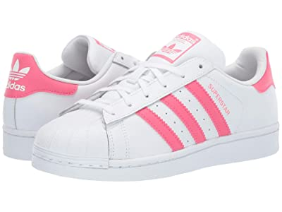 adidas Originals Kids Supestar J (Big Kid) (White/Real Pink) Girls Shoes