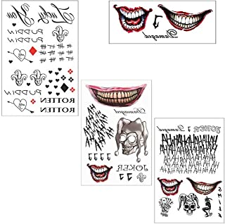 COKOHAPPY 3 Large Sheets HQ & The Joker Sticker Temporary Tattoos SS Full Body Bundle for Cosplay Accessories and Parties