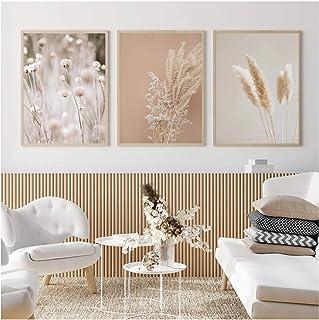 QIAOZ Art Mural, Pampa Herbe Plantes Nature Paysage Toile Peinture Imprime Herbe séchée Moderne Boho botanique Photos Affi...