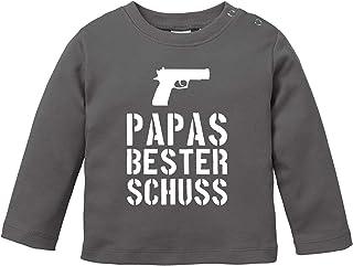 MoonWorks Baby Langarmshirt Papas Bester Schuß Babyshirt Jungen Mädchen Shirt