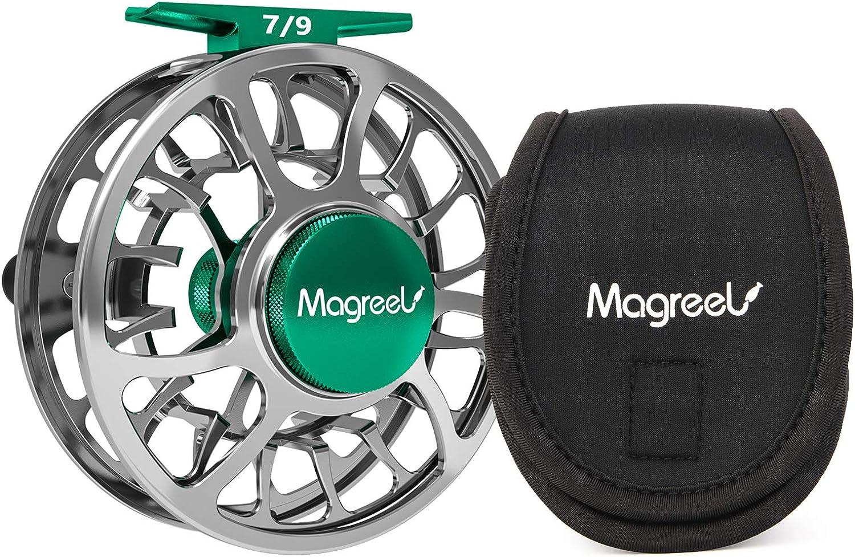 Magreel Fliegenrolle und Ersatzspule Angelrolle mit CNC-gefrsten Aluminium-Karosserien 3 4, 5 6, 7 9 Gewichten - Gunmetal Blau