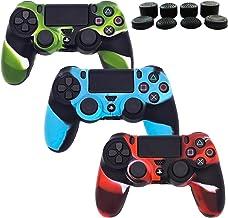 BRHE - Juego de 3 Fundas de Silicona para Mando de PS4 DualShock 4 para Sony Playstation 4/PS4 Slim/PS4 Pro Wireless/Wired Gamepad con 8 Tapas FPS para Pulgar