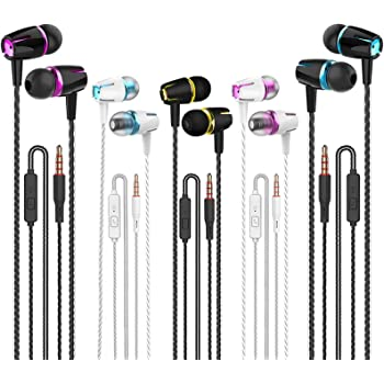 Earbuds Wired with Microphone Pack of 5, Noise Isolating in-Ear Headphones, Powerful Heavy Bass, High Definition, Earphones Compatible with iPhone, iPod, iPad, MP3, Samsung, and Most 3.5mm Jack