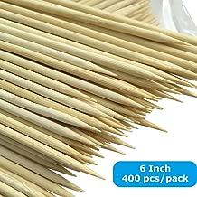 Bamboo Skewers 6 Inch Skewers 400x Marshmallow Skewers, Chocolate Fountain Skewers, Wooden Skewer Sticks for Fruit Antipasto Appetizer Yakitori Skewer Shish Kabob Skewers Seekh Kabab Skewer Fondue