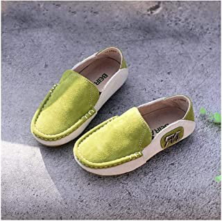 SF Children's Shoes Leather Boy Casual Sports Shoes Spring and Autumn Peas Shoes Soft Bottom Lazy Shoes (Color : Green, Si...
