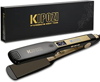 KIPOZI Professional Titanium Flat Iron Hair Straightener with Digital LCD Display, Dual Voltage, Instant Heating, 1.75 Inch Wide Black.