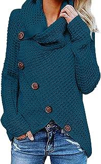 kenoce Maglione Donna Collo Alto Maglione Donna Casual Pullover Manica Lunga Casual Moda Tops Asimmetrico Maglione Maglion...