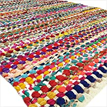 EYES OF INDIA - 4 X 6 ft White Decorative Colorful Woven Chindi Multicolor Rug Braided Area Rag Rug Bohemian Accent Boho C...