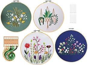 GOTONE 4 Kit de bordado, Kit de punto de cruz para principiantes de bordado, incluye 4 prendas de bordado con patrón floral, 2 aros de bambú para bordar, hilos de color y herramientas