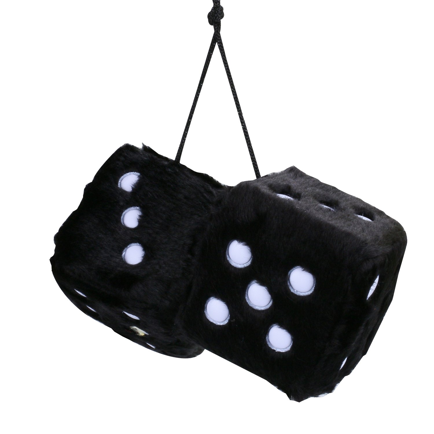 Car Mirror Dice,3 inch Pair of Retro Square Mirror Hanging Dice Black Couple Fuzzy Plush Dice with Dots For Car Interior Ornament Decoration