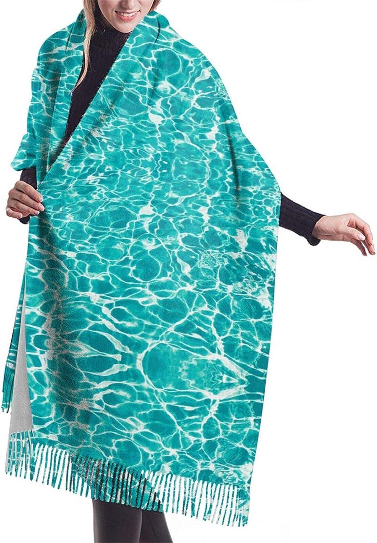 Womens Soft Cashmere Scarf,Sea Water Ripple Shawl Scarf,Premium Large Pashmina,Warm Wrap Blanket Solid Shawl Elegant Wrap