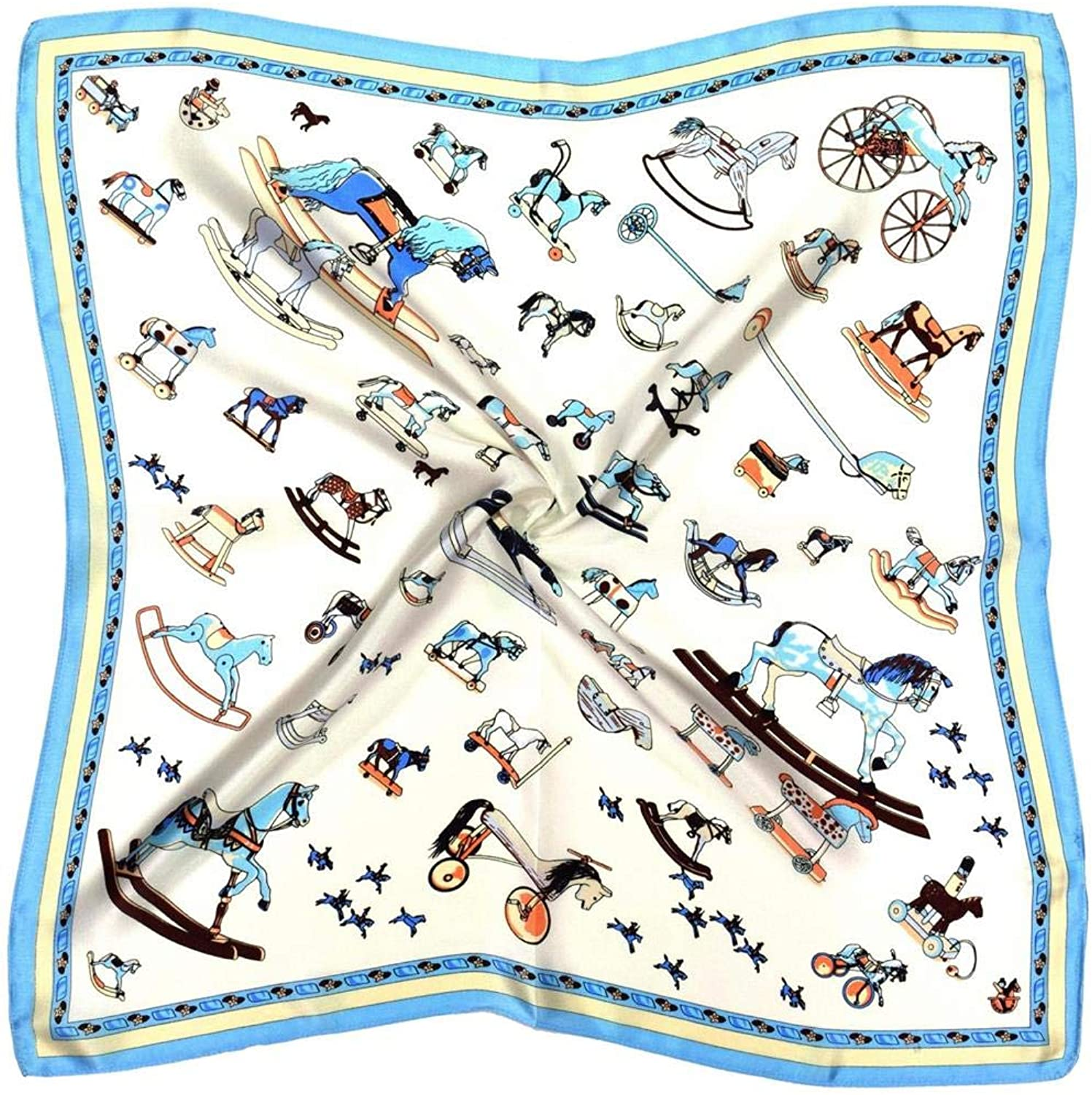Cream bluee Toy Horses Thick Silk Small Square Scarf