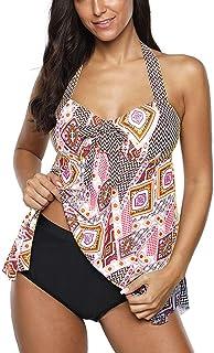 YEBIRAL Femmes 2 Pieces Grande Taille Taille Haute Impression Bikini Maillot de Bain Costume