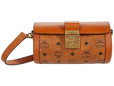 MCM Tracy Visetos Crossbody Small (Cognac) Handbags