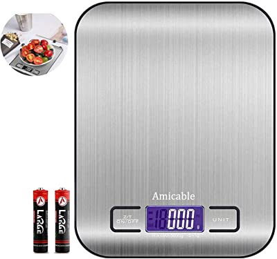 Amicable Digital Kitchen Food Scale for Cooking and Baking,5kg/11Lb Highly Accurate Kitchen Weight Scales with HD LCD Display,Premium Stainless Steel Weighing,Tare & Auto Off(Batteries Included)