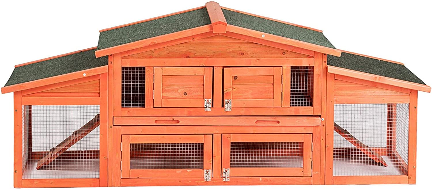 """Upgrade Wooden Super beauty product restock quality top! Outdoor Rabbit Cage Bunny 71"""" Hutch Chicken Nippon regular agency"""