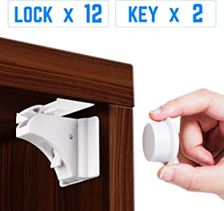 Magnetic Cabinet Locks for Baby Proofing Cabinet Child Safety Locks [12 Locks & Latches, 2 Magnetic Keys] Drawer Lock Invisible Design without Nails, Easy To Install