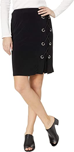 Pack and Go Travel Jersey Lace-Up Skirt w/ Eyelet Detail