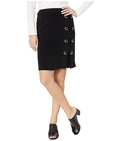 Tribal Pack and Go Travel Jersey Lace-Up Skirt w/ Eyelet Detail (Black) Women