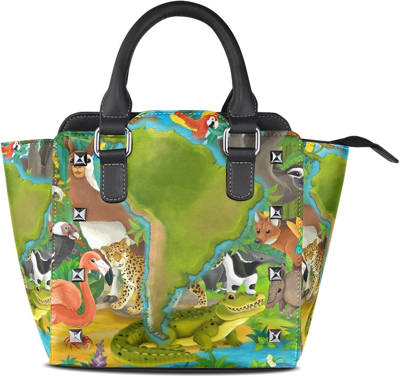 Sunlome Cartoon Animals in South America Print Handbags Women's PU Leather Top-Handle Shoulder Bags