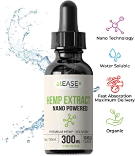 Hemp Oil Extract Bioavailable with Nano Technology: Optimal Absorption & Delivery: Pain, Anxiety, Sleep & Stress Relief – Water Soluble - Helps Mood & Brain Function – Vanilla Flavor – 300mg