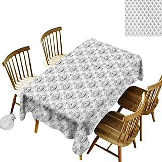 kangkaishi Tattoo Iron-Free, Anti-fouling Holiday Long Tablecloth Table decorationAbstract Pattern with Mountains Trees and Eagle Adventure and Outdoors W14 x L108 Inch Black White Pale Grey