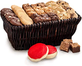 Mrs. Fields Cookies Sweet Sampler Basket (44 Count) Includes 24 Nibblers Bite-Sized Cookies, 18 Brownie Bites and 2 Hand-Frosted Cookies - Perfect Gift for any Holiday or Occasion