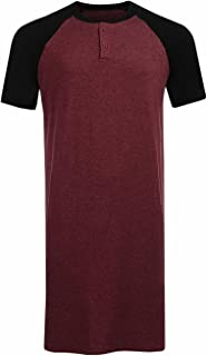 Runcati Mens Sleepshirt Short Sleeve Nightgown Raglan Long Night Shirts Henley Sleepwear Nightwear