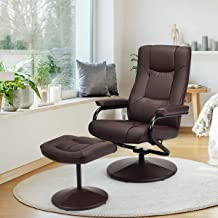 Giantex Swivel Recliner Chair w/Ottoman, 360 Degree Swivel PU Leather Chair w/Footrest, Lounge Armchair w/Overstuffed Padded Seat and Leather Wrapped Base, for Home Office Living Room(Brown)