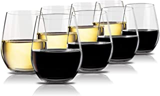 Vivocci Unbreakable Plastic Stemless Wine Glasses 20 oz | 100% Tritan Heavy Base |..