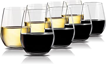 Vivocci Unbreakable Plastic Stemless Wine Glasses 20 oz   100% Tritan Heavy Base  ..