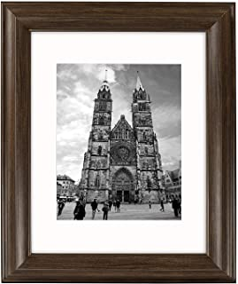Golden State Art, 11x14 Brown Color Photo Frame, 2-inch Wide, with Ivory Mat for 8x10 Picture & Real Glass