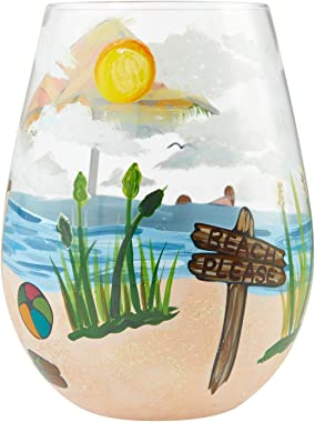 Enesco Designs by Lolita Beach Please Hand-Painted Artisan Stemless Wine Glass, 20 Ounce, Multicolor