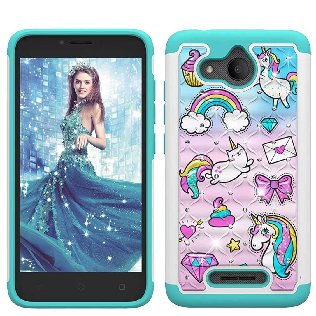 Lantier Heavy Duty Glitter Bling Hybrid Dual Layer 2 in 1 Hard Cover Soft TPU Impact Armor Defender Protective Shockproof Diamond Case for Alcatel Tetra 2018/5041C Unicorn