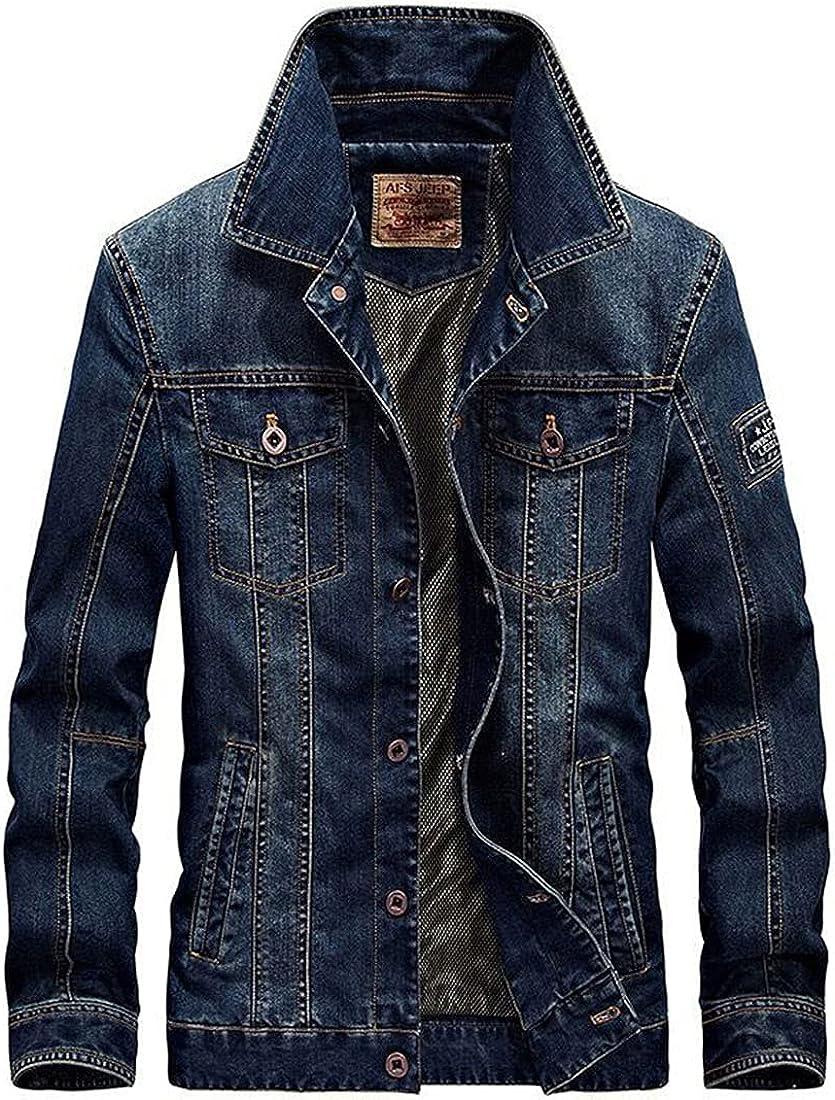 Men's Casual Distressed Denim Jacket Button Up Long Sleeve Trucker Moto Jean Coat