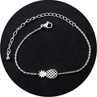 Small Oranges Minimalism Pineapple Bracelet for Women Dainty Gifts BFF Jewelry 2019 Friendship Stainless Steel Rose Gold Ananas Bracelet Femme