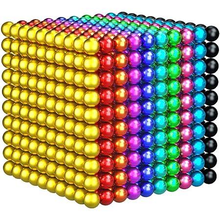 OBEST マグネットボール 立体パズル バッキーボール 1000個セット﹙5mm﹚おもちゃ DIY工具 (十色タイプ)
