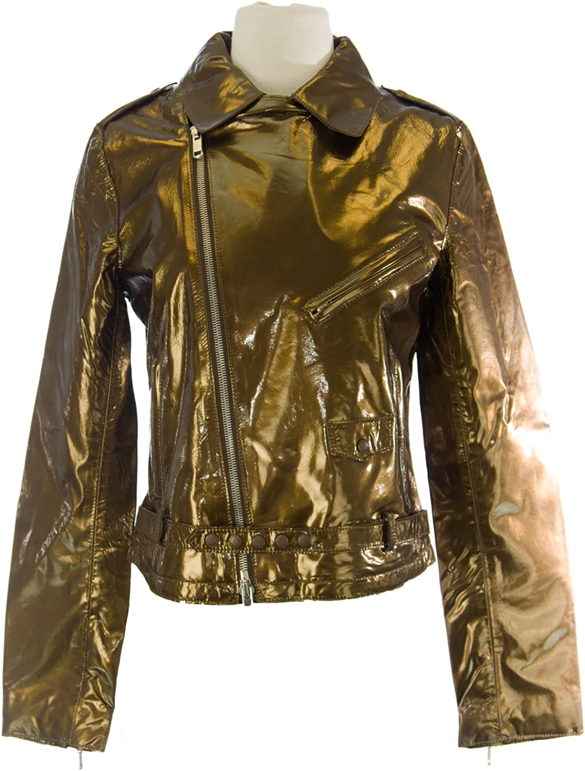 CUSTO BARCELONA Women's Perfecto gold Diagnal Zip Jacket R793004