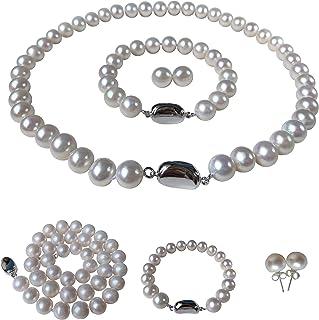 Pearl Romance II Round Pearl II White Pearl Necklace Bracelet & Earrings Set for Women 3 Piece Set Strand Stud Earring Pea...