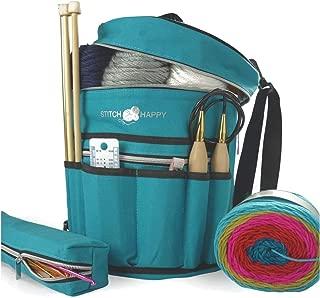 Stitch Happy Knitting Bag (Peacock): 7 Pocket Yarn Bag, Crochet Bag, Yarn Storage, Crochet Storage